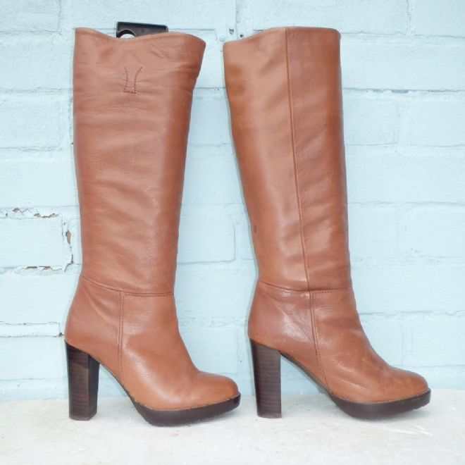 Hobbs NW3 Brown Leather Boots Size Uk 3 Eur 36 Womens Pull on Platform Boots